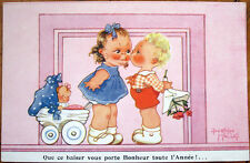 1930s Beatrice Mallet/Artist-Signed Postcard: Girl w/Doll Kissing Boy w/Flowers
