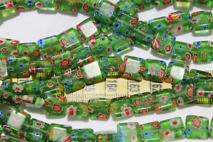 10mm Square Handmade Millefiori Tr Green Mixed Color Flowers Glass Beads/37pcs