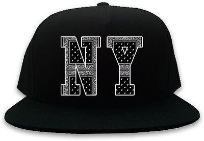 Kings Of NY New York NYC Bandana Printed Snapback Black Baseball Cap Hat