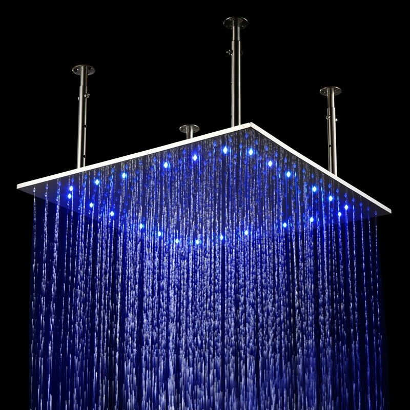 24x24 Inch Led Stainless Steel Ceiling Waterfall Rain Shower Head Brushed Nickel Ebay