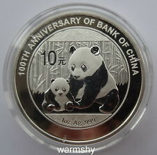 2012 Bank of China 100th Anniversary Panda Silver Coin 1 OZ 10 Yuan COA