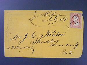 Mehoopany-Pennsylvania-PA-1860-Manuscript-Cancel-Type-II-Scott-26a-Cover