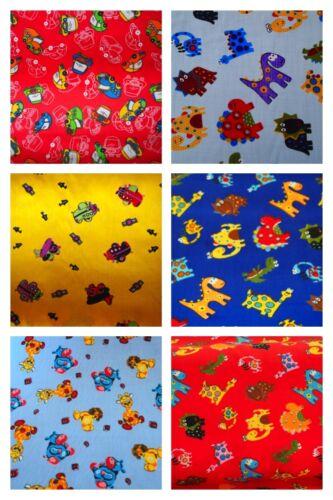 Cars Animals Plane Childrens Polycotton Fabric Fat Quarter Bundle x6 Dinosaurs