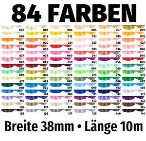 10m x 38mm Satinband Band Schleifenband Dekoband Geschenkband 84 Farben zur Wahl