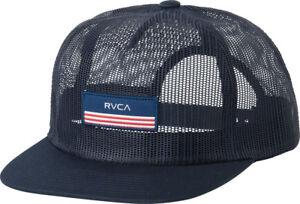 2ac2fa59477 RVCA - Merica Mens Trucker Hat (NEW) Navy Cap VA RUCA America Flag ...