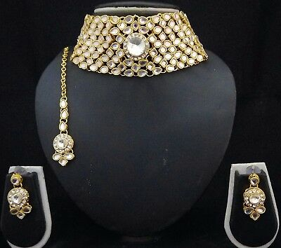 Indian Ethnic Bollywood Celebrity Designer Kundan CZ Bridal Choker 4pc Full Set