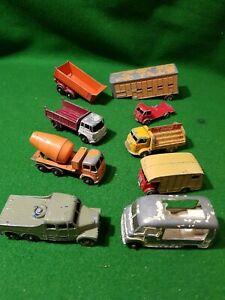 9-x-MATCHBOX-LESNEY-joblot-of-vintage-diecast-Trucks-Trailers-gps-rare-lorrys