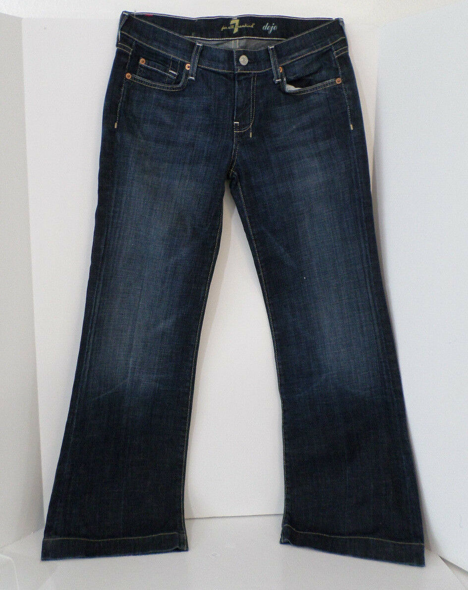 7 For All Mankind Women's DOJO Flare Wide Leg Jeans Sz 28 Good Condition