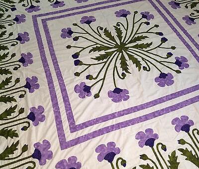 Unique Hand Applique Lavender Poppy Field Medallion Wall QUILT TOP