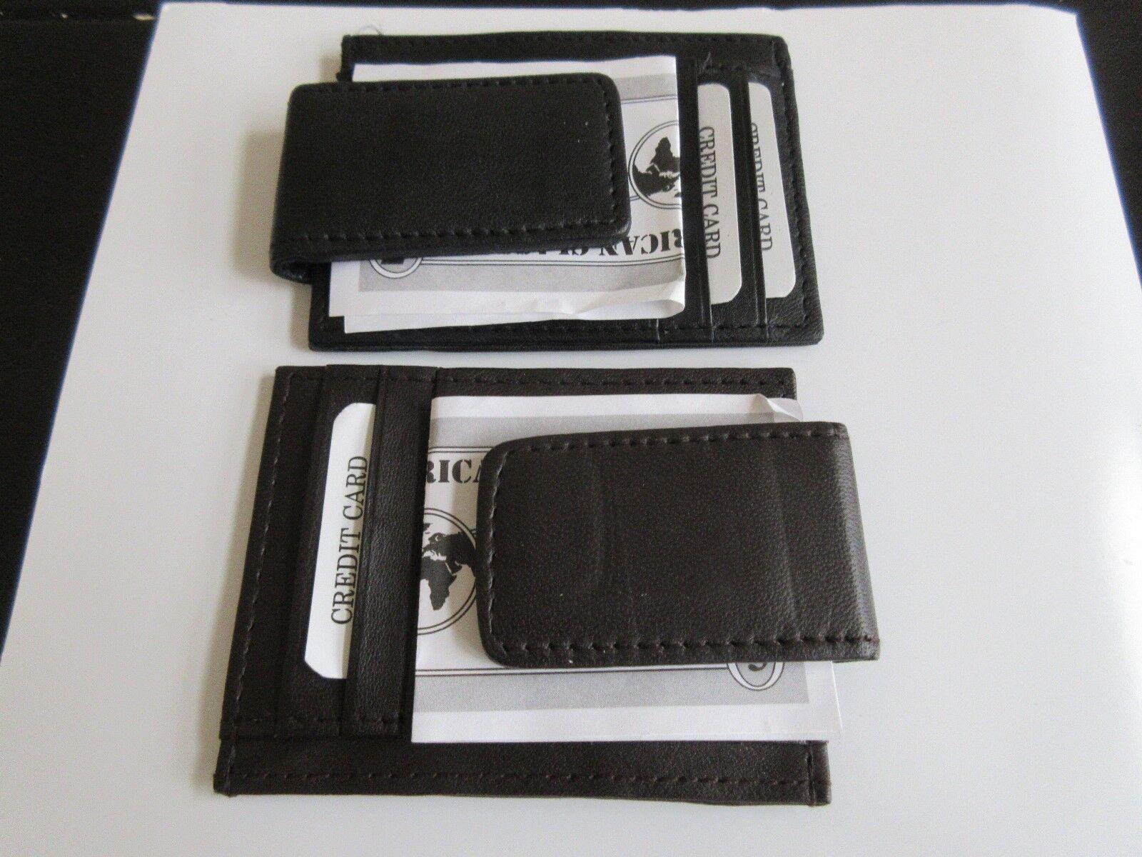 Afonie Genuine Leather Money Clip / Wallet - Black