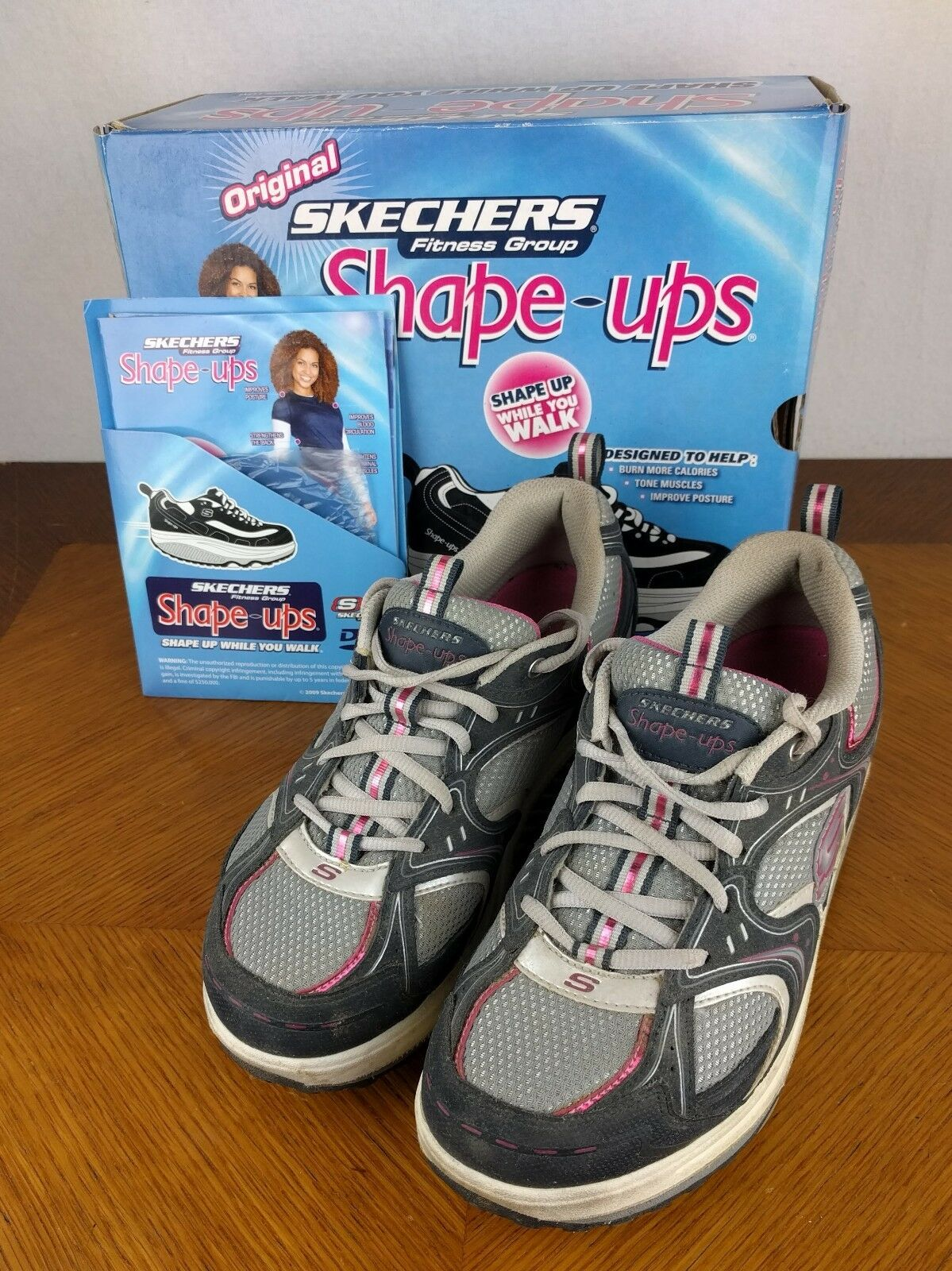 Skechers Fitness Shape Ups Navy Schuhes DVD Box Sz 8 Sneakers Walking Athletic