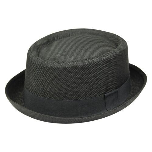 Mens Pork Pie Heisenberg Breaking Bad Classic Textured Hat Cap Straw Trilby UK