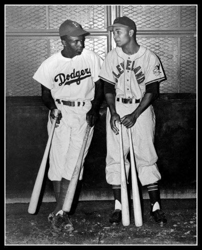 Jackie Robinson & Larry Doby Photo 8X10 - 1947 Season