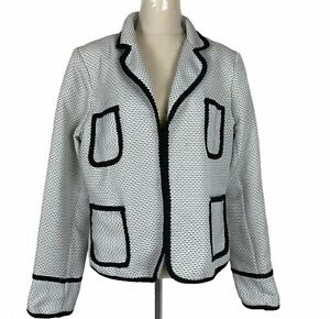 Charlie Brown Womens White/Black 3 Hook Fully Lined Jacket Size 16