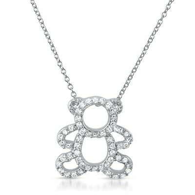 Details about  /Round Cubic Zirconia Teddy Bear Pendant Necklace 14K Gold Over Sterling Silver