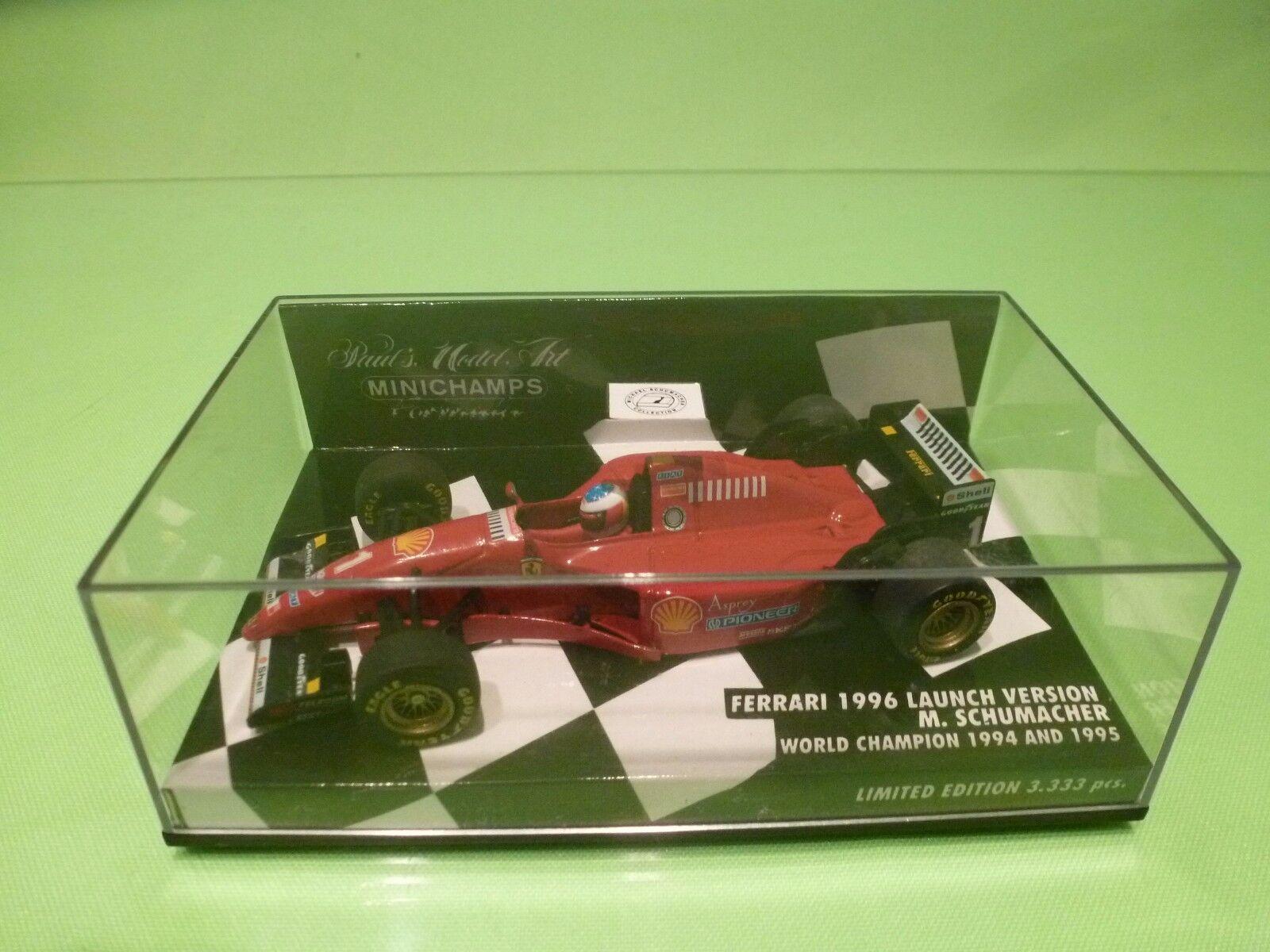 MINICHAMPS FERRARI 1996 LAUNCH VERSION - F1  rot M.SCHUMACHER - EXCELLENT IN BOX