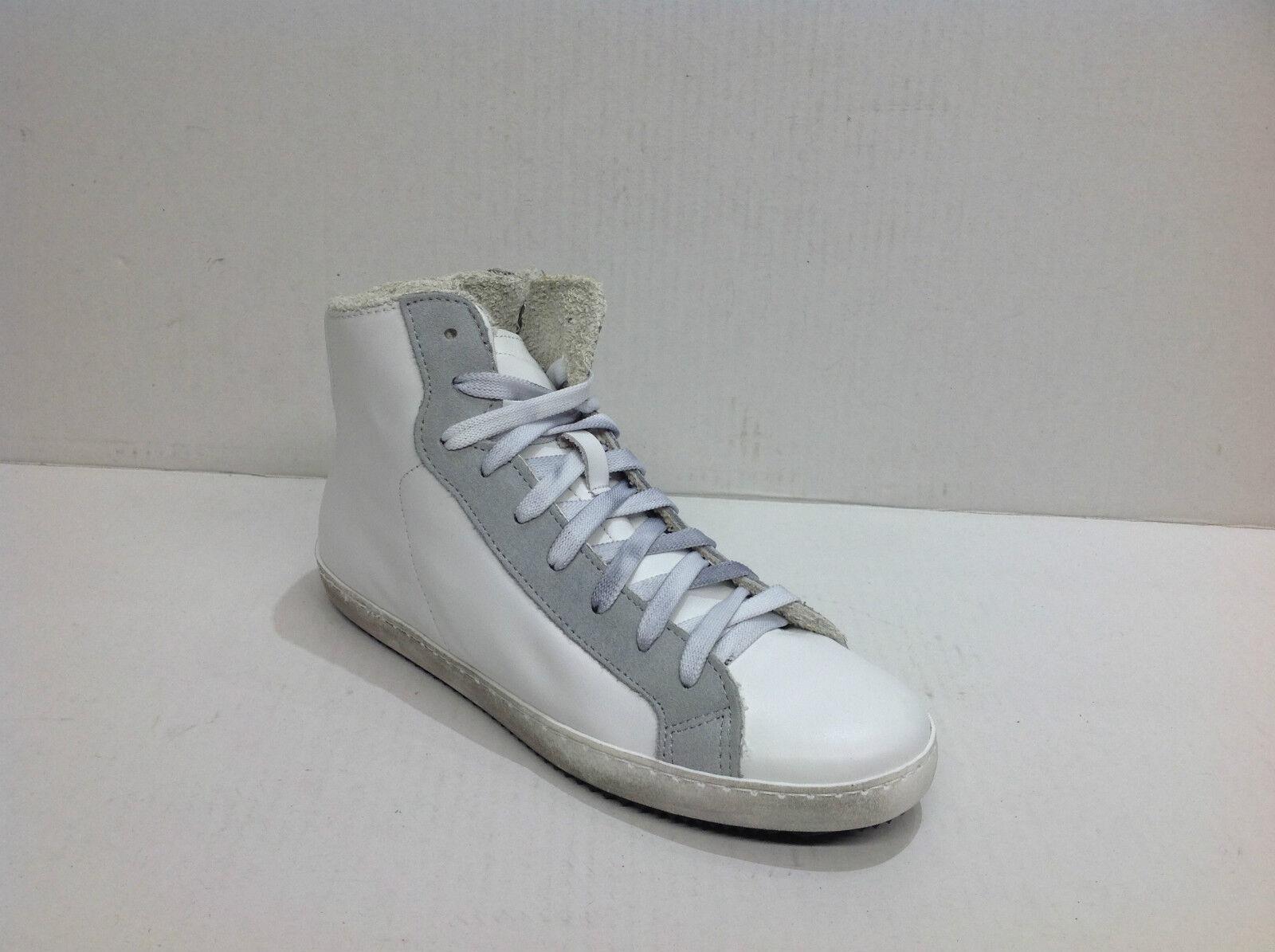 Scarpe scarpe da ginnastica alte uomo stivaletto pelle cerniera bianco ghiaccio Via Condott