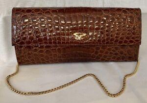 Vero-Coccodrillo-Vintage-Tasche-Bandtasche-Clutch