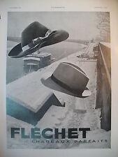 PUBLICITE DE PRESSE FLECHET CHAPEAUX PAFAITS  FRENCH AD 1940