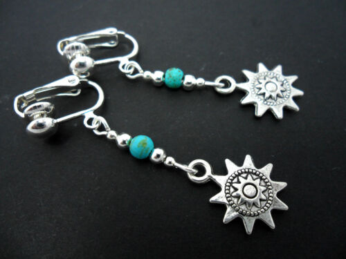 NEW. A PAIR OF TIBETAN SILVER  DANGLY SUN TURQUOISE BEAD CLIP ON EARRINGS