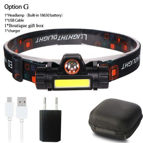 Mini XPE+COB LED Headlamp Portable Torch Lamp Built-in USB Rechargable 18650