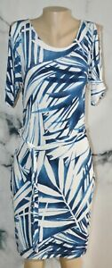 TRAVELERS BY CHICO'S Blue White Palm Leaf Print Slinky Dress 0 Cold Shoulder
