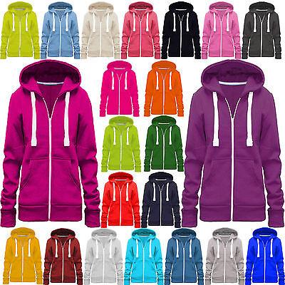 Womens Ladies Plain Hoodie Sweatshirt Fleece Hooded Coat Hoodys Zip Jacket 6-14