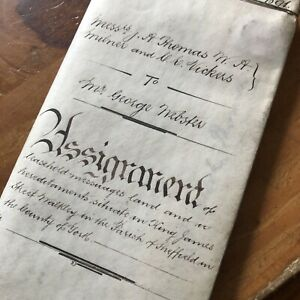 Antique 1891 Vellum Legal Document Walkley Sheffield Wax Seal Land Deal Signed