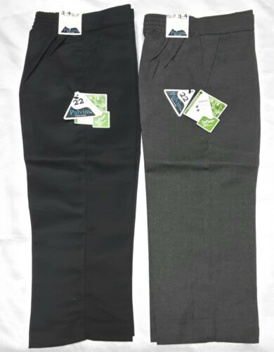 New Boys School Trousers Half Elastic Waist Pull Up Trousers Black Grey All Size