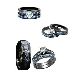 his tungsten and her black blue stainless steelcz engagement wedding ring set - Tungsten Wedding Ring Sets