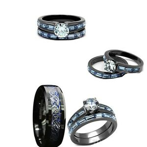 image is loading his tungsten and her black amp blue stainless - Black And Blue Wedding Rings