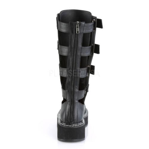 "DEMONIA Women/'s 2/"" Punk Gothic Black Open Back Panels Knee High Boots w// Straps"