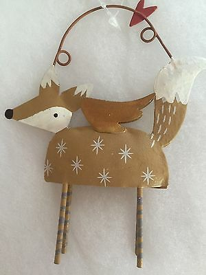 Gisela Graham Christmas Fur Fabric Deer Tree Decoration Brown Cream Woodland