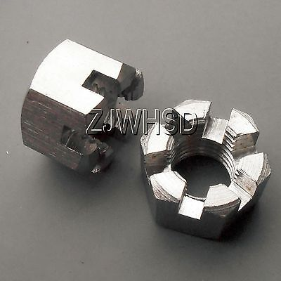 2pcs M20 x 2.5 mm Connecting Rod Wheel Axle Hub Slotted Castle Nut Stainless