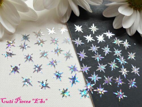 Arte De Uñas Plata Holográfico Navidad Exploding estrellas pequeño paquete Spangle Brillo ES2
