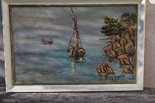 Tableau MARINE - Provence -pêcheurs d'oursins à Carry  dans les calanques