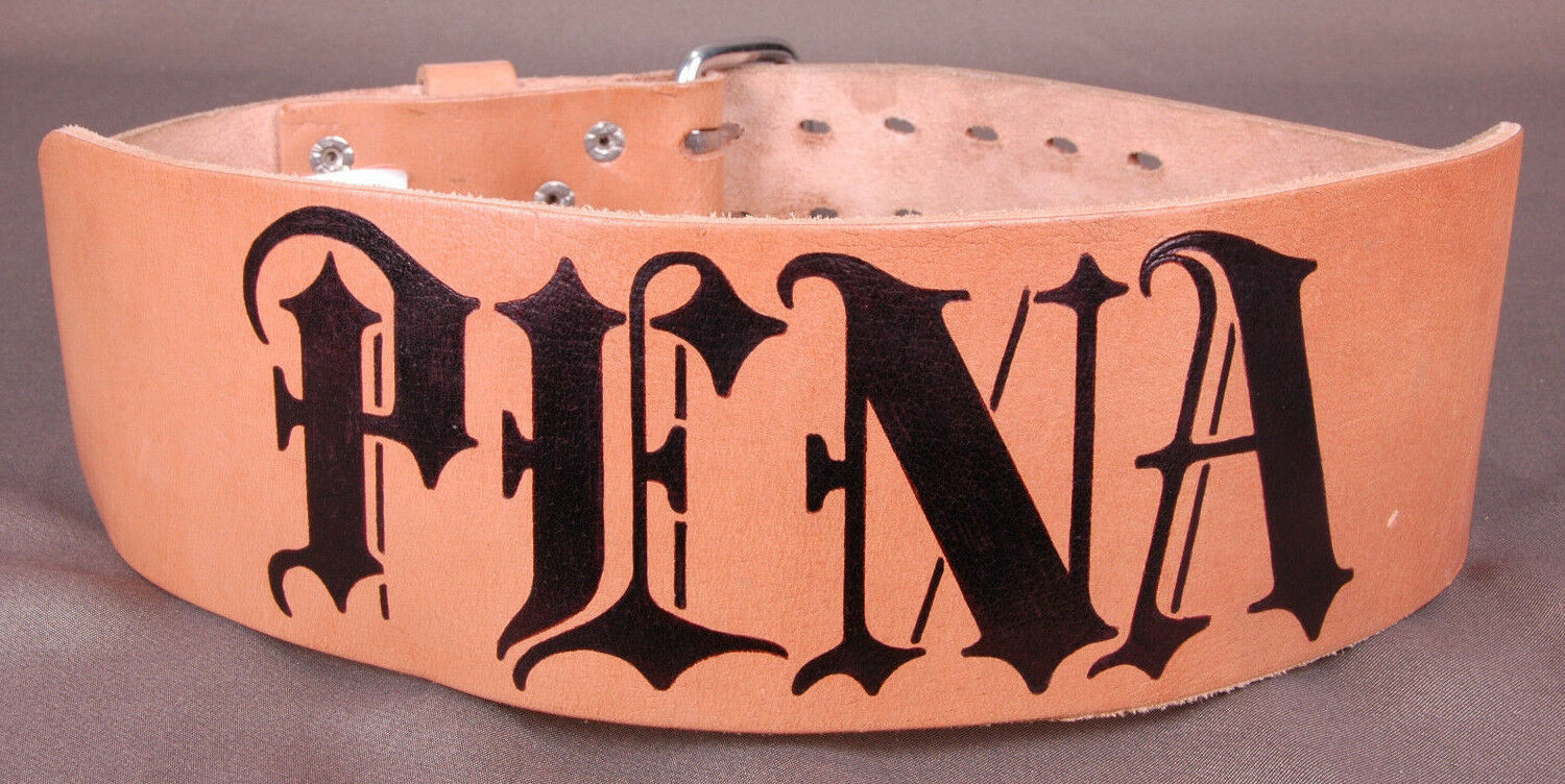 Altus Weightlifting Belt- PENA -Genuine Leather-Large-Old English Letters-32-42