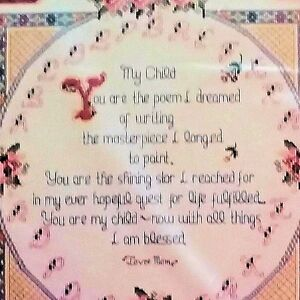 Details about My Child Poem Prayer Counted Cross Stitch Kit Mother Bucilla  40733 15x15 Nelson