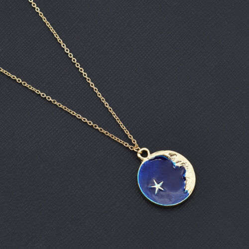 Belle lune étoile Imprimé Collier Pendentif Émail Making Femmes Chic Bijoux Cadeau