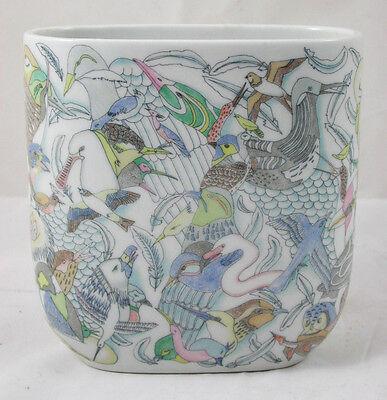 Schöne Vase Rosenthal Porzellan Vogeldekor ovale Form