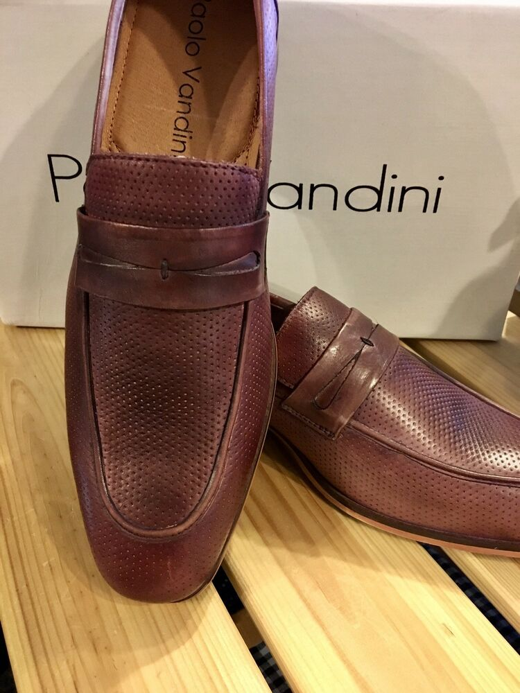 "Paolo Vandini. Italien ""hand Made"" Slip On Chaussures. Bourgogne. 10/44. Top Qualité."