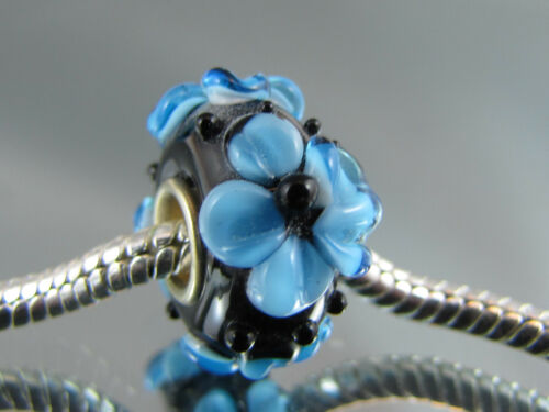 SINGLE SILVER CORE FLORAL MURANO GLASS BEAD EURO STYLE CHARM BRACELETS  #MB-265