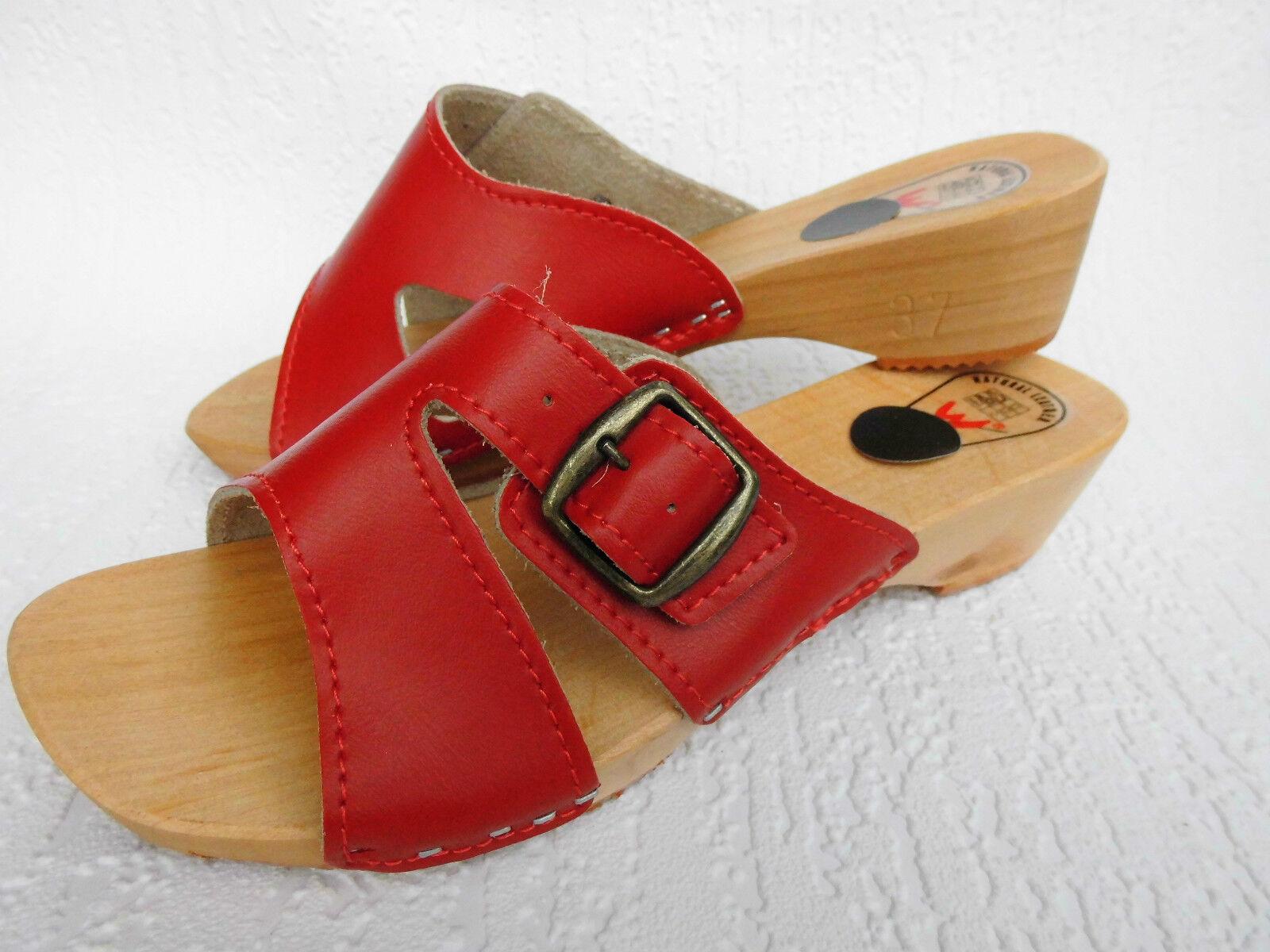 HOLZ Rot, (e) CLOGS Holz Pantolette Gr.36, Echt LEDER, Rot, HOLZ (Made in Poland 254-4-93) dd18e8