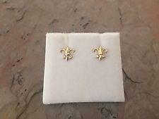 14 KT Yellow Gold Fleur de Lis Flower Earrings Post Pair NEW Small Stones