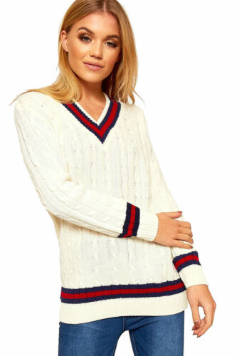 Womens ladies V NECK CRICKET JUMPER PULLOVER Long Sleeve sports Sweater TOP