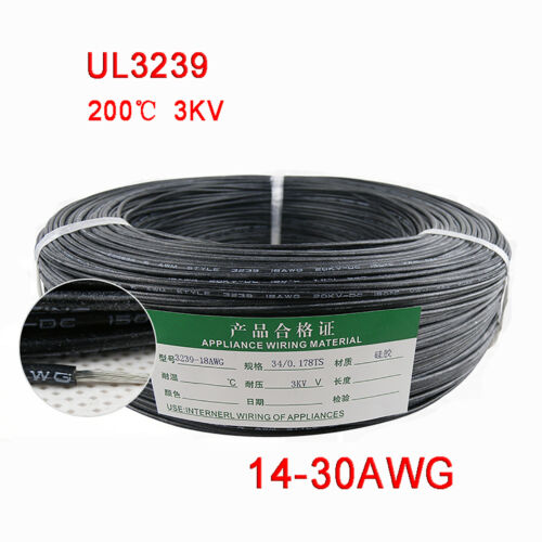 Nero 14-30AWG flessibile in silicone filo cavo, alta TMPE 200 ℃, 3KV ad alta tensione