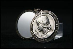 St joan of arc holy medal silver pendant mirror locket art nouveau image is loading st joan of arc holy medal silver pendant aloadofball Gallery