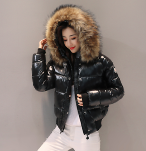 8f3e200602c2 Womens Winter Parka Down Cotton-padded Coat Hooded Faux Fur Puffer ...