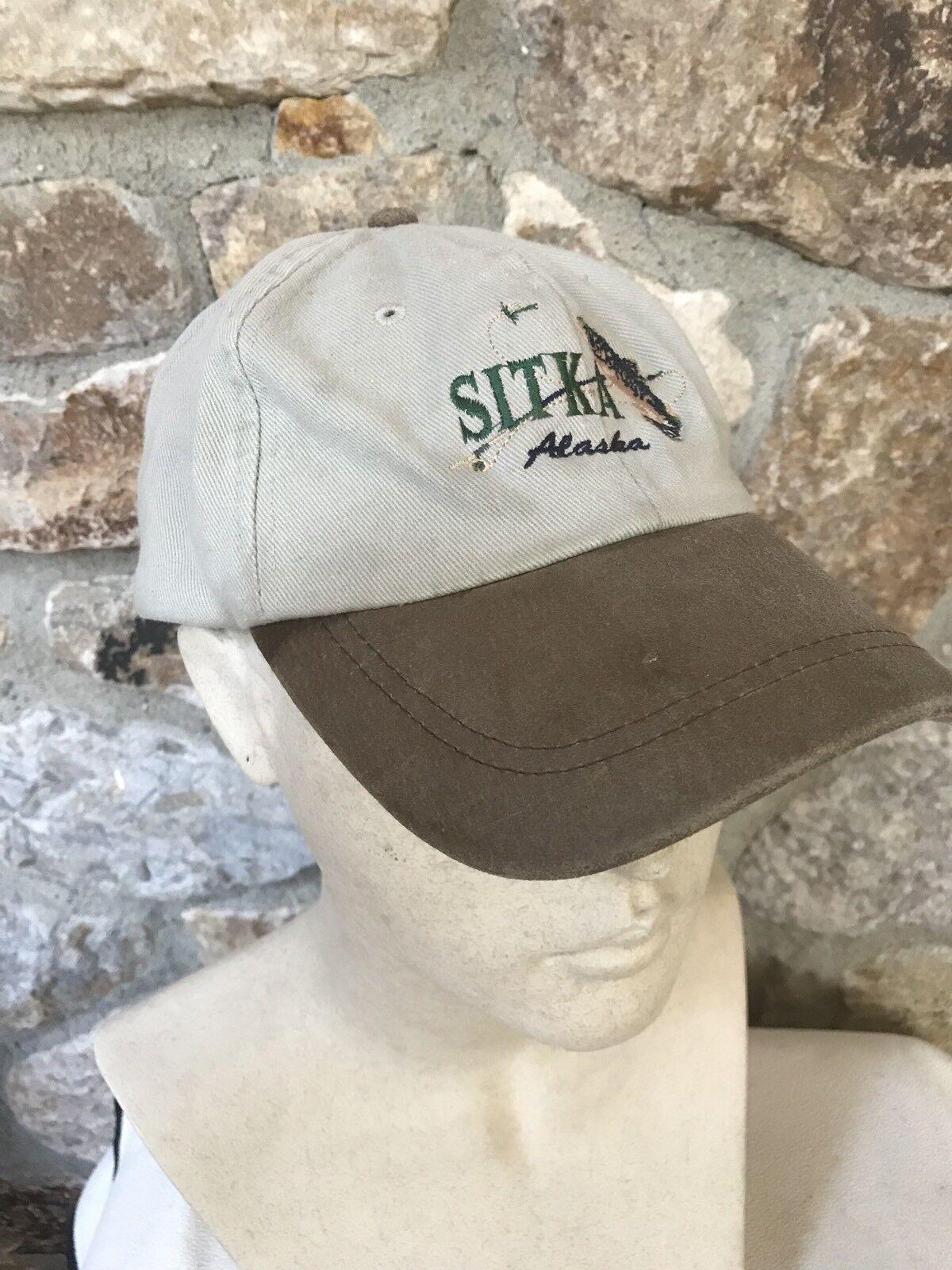 Vintage Dad SITKA ALASKA Leather Bill Baseball Cap Dad Vintage Hat Salmon Fly Fishing 54a3ae