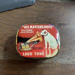 Vintage Gramophone Needle Tin His Master's Voice  Loud Tone Nadeldose HMV3